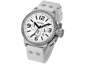 TW Steel Men's Canteen Chronograph White Zirkonias White Dial White Leather