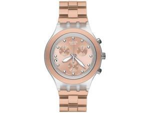 Swatch Irony Diaphane Chronograph White Crystal Beige Ion Plated Stainless Steel