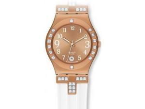 Swatch Women's Irony White Crystal Rose Gold Dial White Rubber