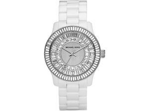 Michael Kors Baguette Crystal White Ceramic Ladies Watch MK5361