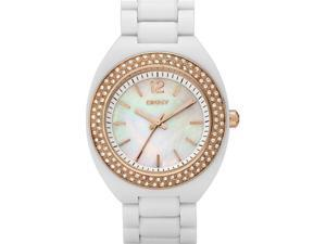 DKNY Women's White Crystal White Mother Of Pearl Dial White Plastic