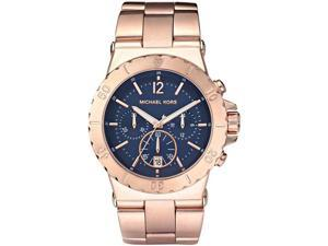 Michael Kors Men's Chronograph Navy Blue Dial Rose Gold Tone Ion Plated Stainless
