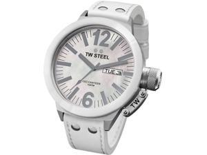 TW Steel Men's CEO Canteen White Mother Of Pearl Dial White Leather