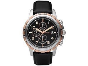 Fossil Chronograph Leather Strap Black Dial Men's watch #FS4545