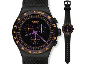 Swatch Men's Irony Chronograph Black Dial Black Rubber