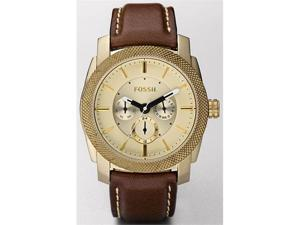 Fossil Machine Leather Brown   with Vintaged Bronze Mens   Watch DE5015