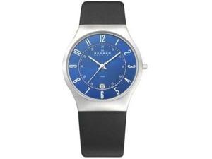 Skagen Black Leather Marine Blue Dial Men's watch #233XXLSLN