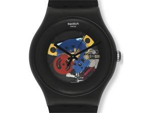 Swatch Black Lacquered Mens Watch SUOB101