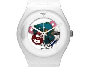 Swatch White Lacquered White Silicone Unisex Watch SUOW100