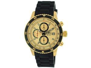 Invicta Signature II Chronograph Gold-tone Dial Black Rubber Mens Watch 7398