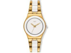 Swatch Yellow Pearl White Dial Gold-Tone Stainless Steel Ladies Watch YLG122G
