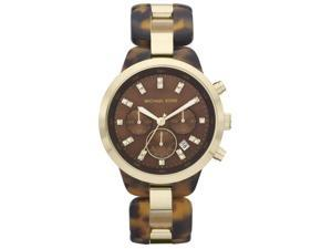 Michael Kors Gold-Tone Brown Acetate Chronograph Ladies Watch MK5609