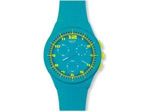 Swatch Originals Acid Drop Chronograph Turquoise Silicone Mens Watch SUSL400