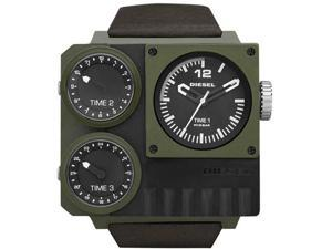 Diesel Super Bad Ass Triple Time Zone Black and Green PVD Mens Watch DZ7248