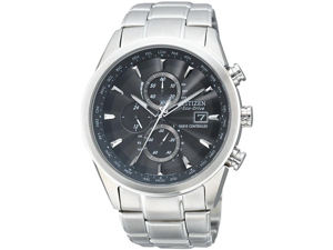 Citizen Eco-Drive World Chronograph A-T Black Dial Steel Mens Watch AT8010-58E