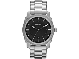 Fossil Men's Machine FS4773 Silver Stainless-Steel Quartz Watch with Black Dial