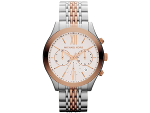 Michael Kors Brookton Chronograph White Dial Two-tone Ladies Watch MK5763
