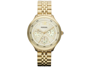 Fossil GMT Gold Dial Gold-Tone Stainless Steel Ladies Watch ES3248