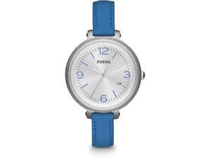 Fossil Heather Silver Dial Blue Leather Ladies Watch ES3279