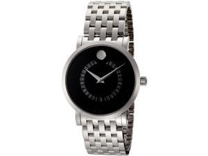 Movado Red Label Automatic Black Dial Animated Date Steel Mens Watch 0606284