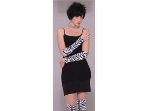 80's Punk Rock Zebra Zipper Long Costume Gloves