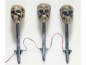 Solar Powered Light-Up Skull Lawn Stakes Halloween Prop Decoration Set of 3