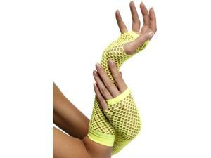 80's Neon Yellow Fishnet Gloves Costume Accessory