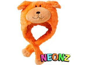 My Pillow Pets Premium Plush Hat Neonz Neon Orange Dog Hat