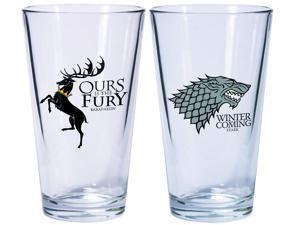 Game Of Thrones Pint Glass Set Of 2 Stark & Baratheon