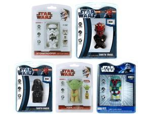 Star Wars Ultimate Flash Drive Set Of 5 - Vader, Yoda, Boba, Maul, & Storm