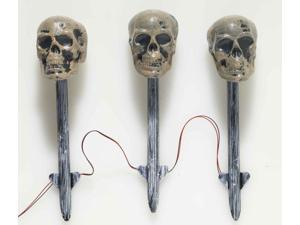 Solar Powered Light-Up Skull Lawn Stakes Halloween Decoration Set of 3