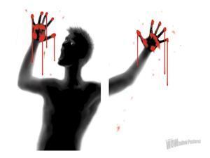 Bloody Screamer Double Window Halloween Sticker