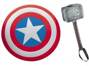 Captain America Metal Shield & Thor Hammer Prop Replica Set Of 2