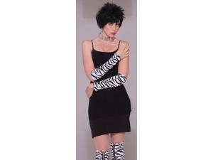 80's Punk Rock Zebra Zipper Long Costume Gloves