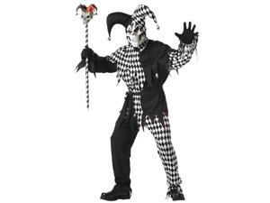 Evil Jester Costume Black & White Adult Small