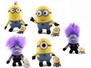 """Despicable Me 6"""" Plush Set Of 5 with Dave, Jorge, Stuart, & Evil Minions"""