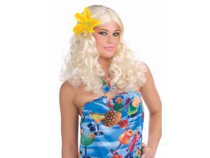 Blonde Hawaiian Adult Costume Wig w/Flower