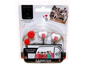 One Direction Heart Shaped Earbuds With Carry Pouch