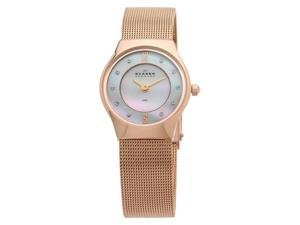 Skagen Slimline Mesh Crystal Rose Gold-tone Steel Mini Ladies Watch 233XSRR