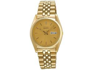 Seiko Day/Date Dress Gold-Tone Stainless Steel Mens Watch SGF206
