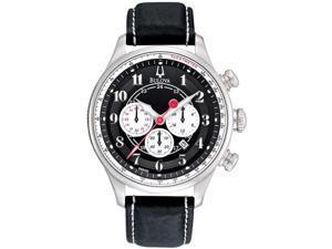 Bulova Adventurer Chronograph Leather Strap Black Dial Men's watch #96B150