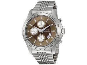Gucci Timeless Brown Dial Stainless Steel Tachymeter Mens Watch YA126213