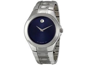 Movado Luno Stainless Steel Blue Dial Mens Watch 0606380