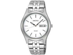 Seiko Solar White Dial Mens Watch SNE031