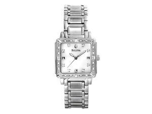 Bulova Womens Diamond Accented Mother of Pearl Dial Watch 96R107