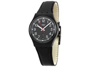 Swatch Red Sunday GB750 Unisex Leather Analog Watch with Black Dial
