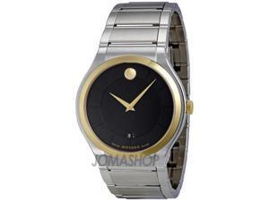 Movado Quadro Black Dial Two Tone Steel Case Mens Watch 0606480