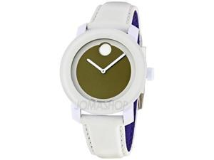 Movado Bold Green Dial White Leather Strap Ladies Watch 3600051