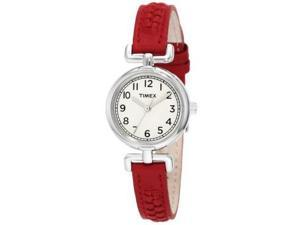 Timex Weekender Petite Casual Red Leather Strap Ladies Watch T2N661