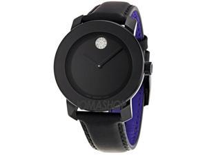 Movado Bold Black Dial Crystal Marker Ladies Watch 3600066